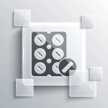 Grey Pills in blister pack icon isolated on grey background. Medical drug package for tablet, vitamin, antibiotic, aspirin. Square glass panels. Vector Illustration. icon