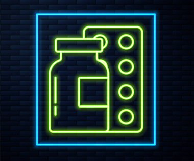 Glowing neon line Pills in blister pack icon isolated on brick wall background. Medical drug package for tablet, vitamin, antibiotic, aspirin.  Vector. icon
