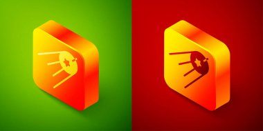 Isometric Satellite icon isolated on green and red background. Square button. Vector.