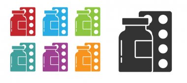Black Pills in blister pack icon isolated on white background. Medical drug package for tablet, vitamin, antibiotic, aspirin. Set icons colorful. Vector. icon