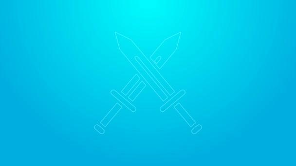 Rosa Linie Gekreuztes mittelalterliches Schwert-Symbol isoliert auf blauem Hintergrund. Mittelalterliche Waffe. 4K Video Motion Grafik Animation