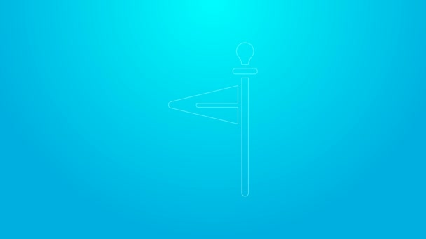 Pink line Medieval flag icon isolated on blue background. Country, state, or territory ruled by a king or queen. 4K Video motion graphic animation
