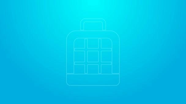Růžová linka Pet taška ikona izolované na modrém pozadí. Nosič pro zvířata, psy a kočky. Kontejner pro zvířata. Krabice na přepravu zvířat. Grafická animace pohybu videa 4K