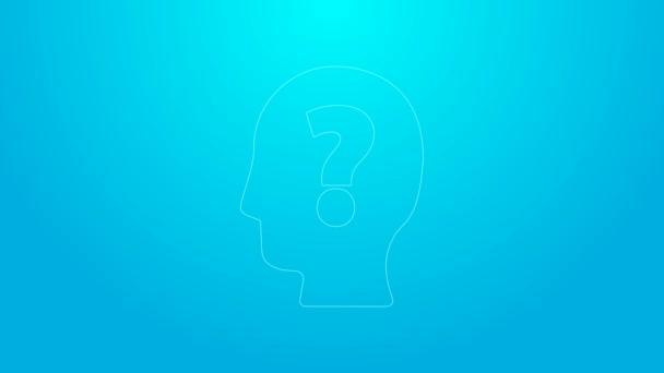 Pinkfarbene Linie Menschenkopf mit Fragezeichen-Symbol auf blauem Hintergrund. 4K Video Motion Grafik Animation