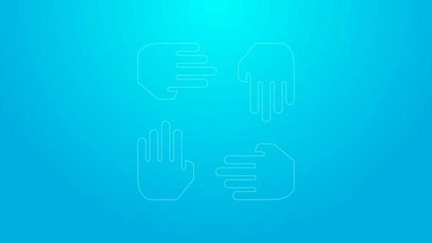 Pink line Project team base icon isolated on blue background. Obchodní analýza a plánování, poradenství, týmová práce, projektové řízení. Vývojáři. Grafická animace pohybu videa 4K