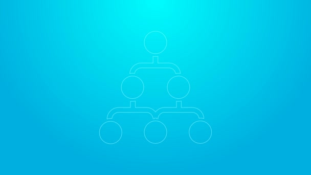 Pink line Business hierarchy organogram chart infographics icon isolated on blue background. Corporate organizational structure graphic elements. 4K Video motion graphic animation