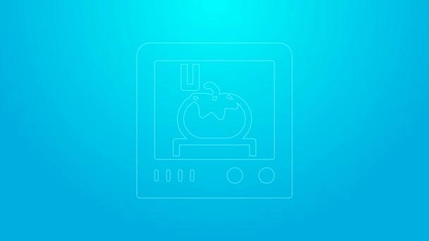 Pinkfarbenes Symbol für 3D-Druck auf blauem Hintergrund. 4K Video Motion Grafik Animation