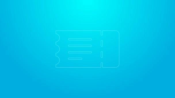 Rózsaszín vonal Vonatjegy ikon elszigetelt kék háttérrel. Utazz vonattal. 4K Videó mozgás grafikus animáció