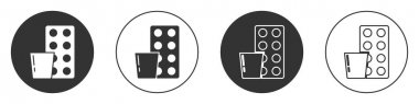 Black Pills in blister pack icon isolated on white background. Medical drug package for tablet, vitamin, antibiotic, aspirin. Circle button. Vector. icon