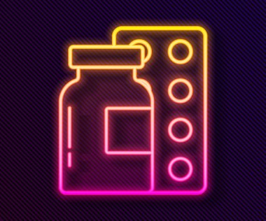 Glowing neon line Pills in blister pack icon isolated on black background. Medical drug package for tablet, vitamin, antibiotic, aspirin.  Vector. icon
