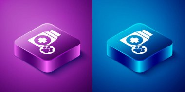 Isometric Bag of food for dog icon isolated on blue and purple background. Dog or cat paw print. Food for animals. Pet food package. Square button. Vector. icon