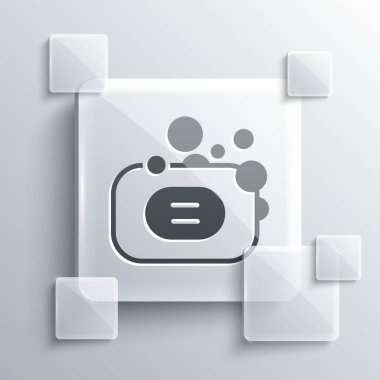 Grey Bar of soap icon isolated on grey background. Soap bar with bubbles. Square glass panels. Vector. icon