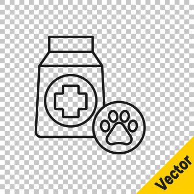 Black line Bag of food for dog icon isolated on transparent background. Dog or cat paw print. Food for animals. Pet food package.  Vector. icon