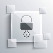 Šedý zámek a ikona klíče izolované na šedém pozadí. Značka Padlock. Zabezpečení, bezpečnost, ochrana, ochrana soukromí. Čtvercové sklo. Vektorová ilustrace.