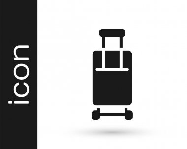 Black Suitcase for travel icon isolated on white background. Traveling baggage sign. Travel luggage icon.  Vector. icon