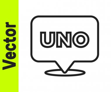 Black line Uno card game icon isolated on white background.  Vector. icon