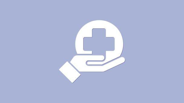 Lékařská ikona nemocnice White Cross izolovaná na fialovém pozadí. První pomoc. Diagnostický symbol. Značka medicíny a farmacie. Grafická animace pohybu videa 4K