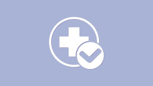 Die medizinische Ikone des Weißen Kreuzes isoliert auf violettem Hintergrund. Erste Hilfe. Diagnose-Symbol. Medizin und Apotheke Zeichen. 4K Video Motion Grafik Animation