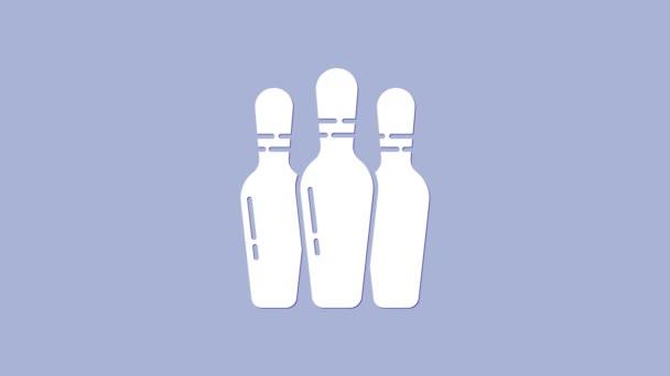 Ikona White Bowling pin izolované na fialovém pozadí. Grafická animace pohybu videa 4K