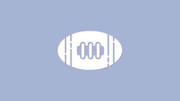 Fehér Amerikai futball ikon elszigetelt lila háttér. Rögbi labda ikon. Csapat sport játék szimbólum. 4K Videó mozgás grafikus animáció