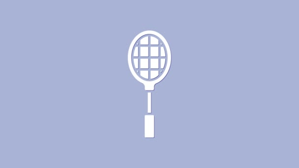White Tennis raketa ikona izolované na fialovém pozadí. Sportovní vybavení. Grafická animace pohybu videa 4K
