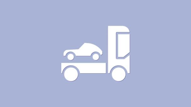 White Car transporter truck pro přepravu ikony vozu izolované na fialovém pozadí. Grafická animace pohybu videa 4K