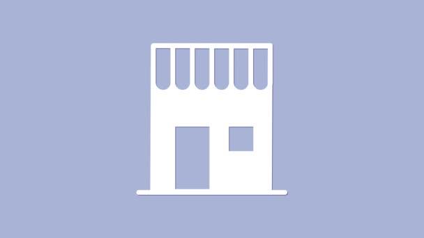Fehér kávézó ikon elszigetelt lila háttér. 4K Videó mozgás grafikus animáció