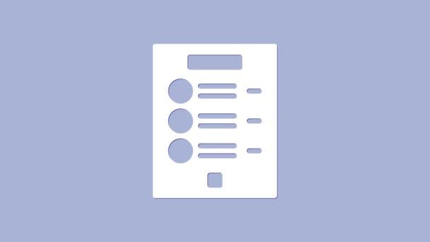 Fehér kávé menü ikon elszigetelt lila háttér. Tervezz menüt a kávézónak, étteremnek, kávézónak. 4K Videó mozgás grafikus animáció