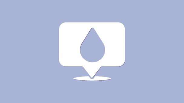 Weißwassertropfen mit Ortssymbol isoliert auf violettem Hintergrund. 4K Video Motion Grafik Animation