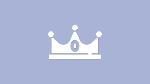 White King crown icon isolated on purple background. 4K Video motion graphic animation