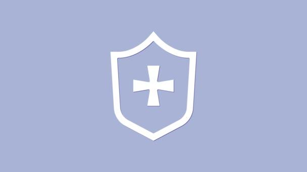 Weißes Schild-Symbol isoliert auf violettem Hintergrund. Wachschild. Sicherheit, Sicherheit, Schutz, Privatsphäre. 4K Video Motion Grafik Animation