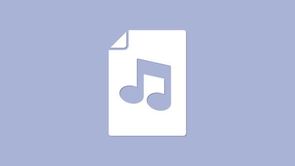 Fehér Zene könyv megjegyzés ikon elszigetelt lila háttér. Zenei lepedő cetlivel. Jegyzetek füzete. 4K Videó mozgás grafikus animáció