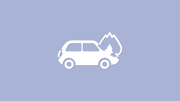 White Burning car icon isolated on purple background. Car on fire. Broken auto covered with fire and smoke. 4K Video motion graphic animation