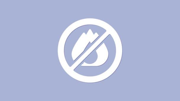 Bílá Ikona bez ohně izolovaná na fialovém pozadí. Zákaz ohně a zakázaný. Grafická animace pohybu videa 4K