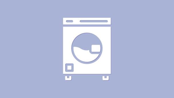 White Washer Symbol isoliert auf violettem Hintergrund. Waschmaschinensymbol. Kleiderwaschmaschine - Waschmaschine. Haushaltsgerätesymbol. 4K Video Motion Grafik Animation