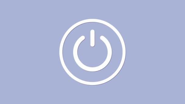 Weißes Power-Symbol isoliert auf lila Hintergrund. Startschild. 4K Video Motion Grafik Animation