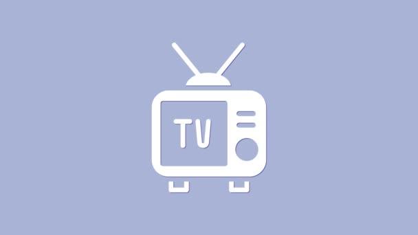 Fehér Retro tv ikon elszigetelt lila háttér. Televíziós jel. 4K Videó mozgás grafikus animáció