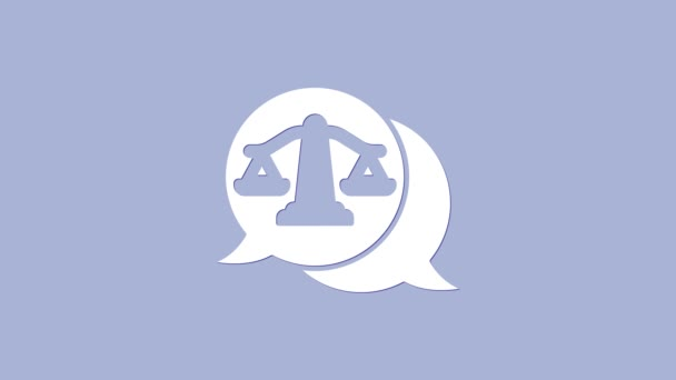 White Scales of justice icon isolated on purple background. Court of law symbol. Balance scale sign. 4K Video motion graphic animation