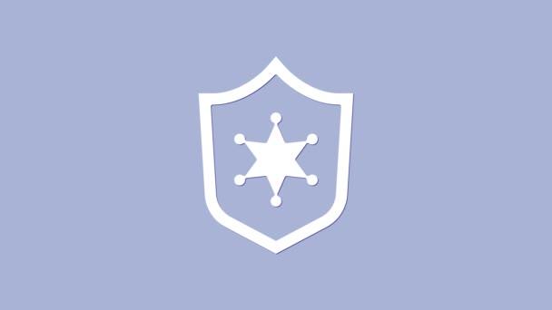Fehér Rendőrség jelvény ikon elszigetelt lila háttér. Seriff jelvény. 4K Videó mozgás grafikus animáció