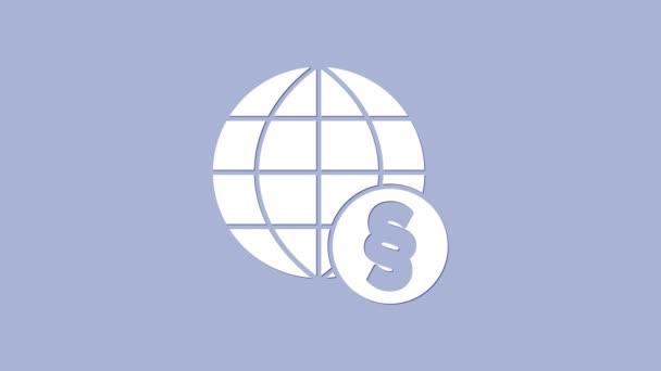 Fehér nemzetközi jog ikon elszigetelt lila háttér. Globális jogi logó. Törvényes igazságszolgáltatás. 4K Videó mozgás grafikus animáció
