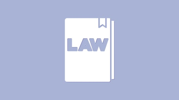 White Law book icon isolated on purple background. Legal judge book. Judgment concept. 4K Video motion graphic animation