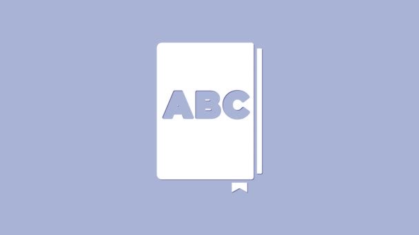 White ABC book icon isolated on purple background. Dictionary book sign. Alphabet book icon. 4K Video motion graphic animation