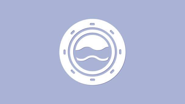 White Ship porthole with rivets and seascape outside icon isolated on purple background. 4K Video motion graphic animation