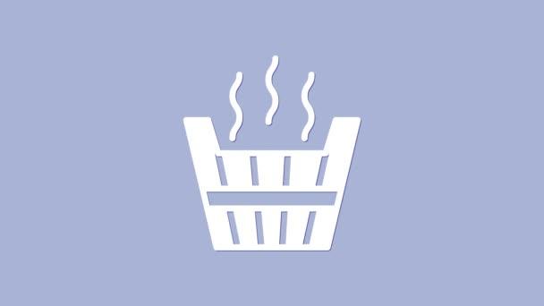 Ikona kbelíku bílé sauny izolovaná na fialovém pozadí. Grafická animace pohybu videa 4K