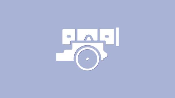 Ikona Bílého děla izolovaná na fialovém pozadí. Grafická animace pohybu videa 4K