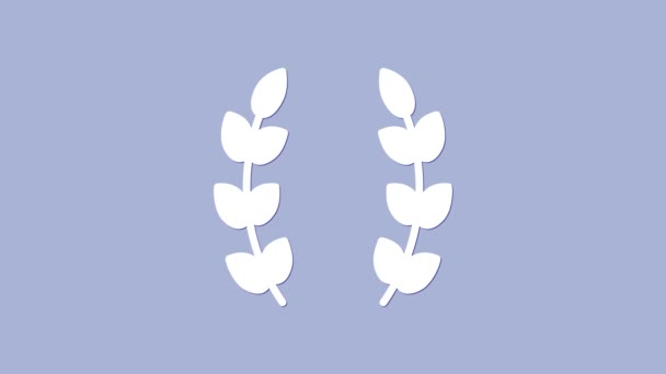 White Laurel wreath icon isolated on purple background. Triumph symbol. 4K Video motion graphic animation