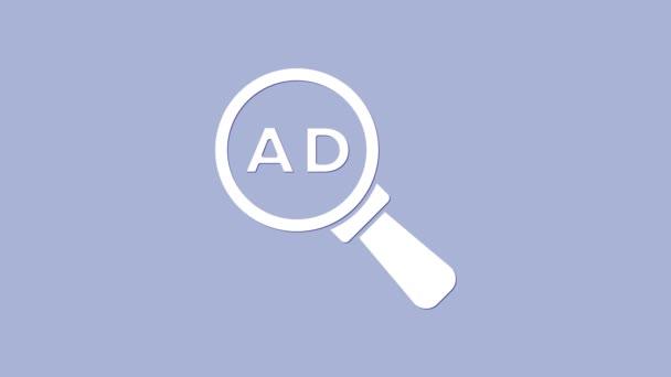 Weißes Werbe-Symbol isoliert auf lila Hintergrund. Konzept des Marketing- und Werbeprozesses. Reaktionsfähige Anzeigen. Werbung in den sozialen Medien. 4K Video Motion Grafik Animation