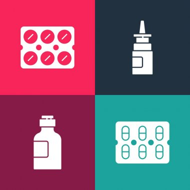Set pop art Pills in blister pack, Bottle of medicine syrup, nasal spray and  icon. Vector. icon