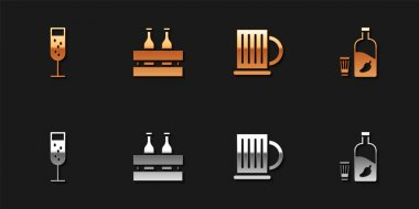 Set Glass of champagne, Pack beer bottles, Wooden mug and Vodka with pepper and glass icon. Vector. icon