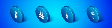 Set Isometric Bottle opener, Champagne bottle, Cocktail and Pack of beer bottles icon. Vector. icon